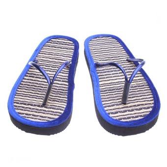 Dép chiếu mang trong nhà Black Blue Stripe Uzu Grass Slippers