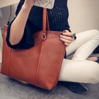 Fashion Women Simple Pure Color Elegant Large Capacity Handbag (Brown) - intl