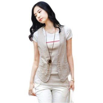 LALANG Women's Slim Tops OL Sleeveless Blazer Suit Vest Beige - intl