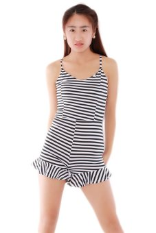 LALANG Striped Flounced Hot Shorts Jumpsuit (Multicolor) - Intl
