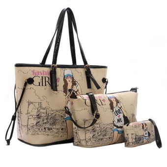3 Pcs Girls Women PU Leather Shoulder Bag Cross Body Bag Tote Bag Hand Pouch Bag Handbag (Intl) - intl