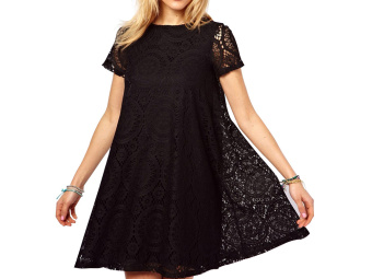 Moonar Women Hollow Out Lace Floral A-Line Mini Dress (Black) - Intl - intl