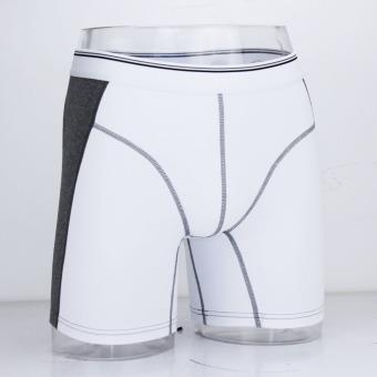 Men's tight cotton underwear sports waistband leg protect (White) - intl