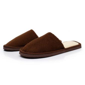 New Women Men Anti-Slip Flat Shoes Soft Winter Warm Cotton House Indoor Slippers Coffee - Intl