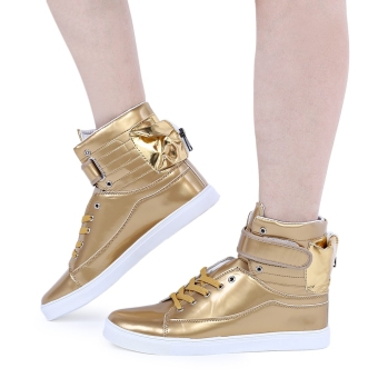 Casual Pure Color Patent Leather Magic Tape Male Dunk High Shoes(Golden) - intl