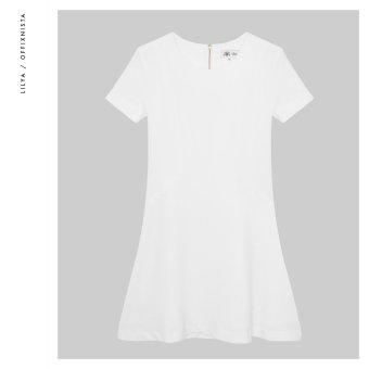 Đầm cổ tròn tay có nẹp xẻ chữ V Lilya (Trắng)