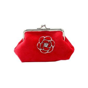 Women Lady Flannel Retro Vintage Flower Small Wallet Hasp Purse Clutch Bag RD - intl