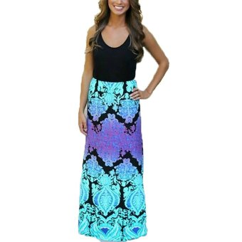 zanzea Womens O Neck Sleeveless Boho Long Maxi Floral Dress Loose Summer Beach Party - Intl