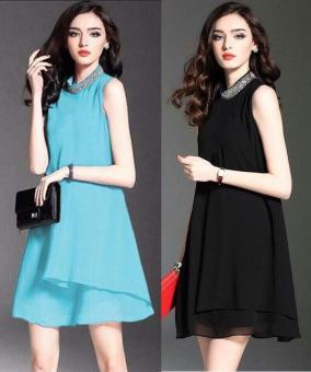 Đầm Xòe Cổ Kết Đá (M,L,XL) Bui Nguyen V106 (Blue)