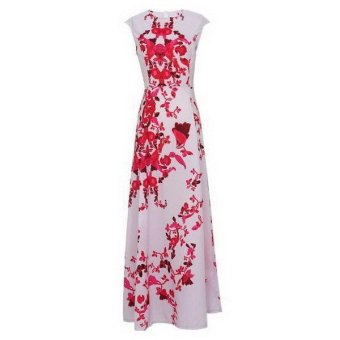 Women Summer Floral Print Long Maxi Boho Cocktail Evening Party Prom Gown Dress - INTL