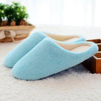 New Women Men Antiskid Indoor Home Floor Slipper Winter Warm Plush Soft Shoes - intl