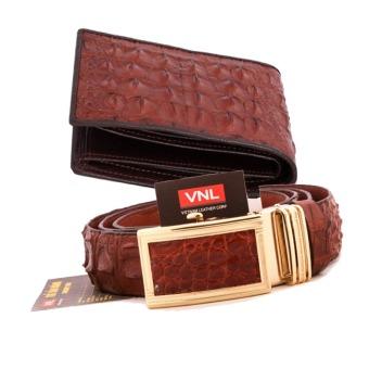 Bộ thắt lưng và ví nam da cá sấu thật chính hãng Da Giày Việt Nam VNL023ZLZ257 (Nâu)