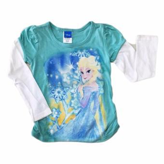 Áo thun tay dài kim tuyến bé gái Disney Frozen Elsa Anna