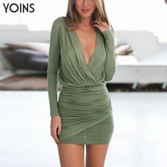 YOINS New 2016 Women FashionPlunge Neck Wrap Mini Dress - intl