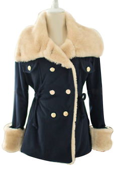 Winter Women Slim Warm Double-breasted Cotton Jacket Coat Outwear Navy Blue Size M