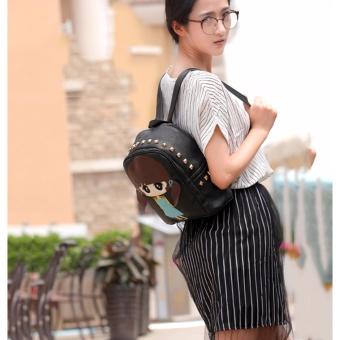 Balo nữ mini dây kéo hình cô gái kute(Đen) Thoitrangkm