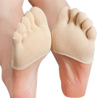 1 Pair Women Front Half Foot Five Toe Sock Anti-slip Invisible Socks Pilates Yoga Socks for US 5-9 Skin Color Close Toe - intl