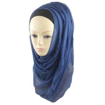 Moonar Muslim hijab islamic women Muslim jersey chiffon shawls plain scarves (dark blue) - intl