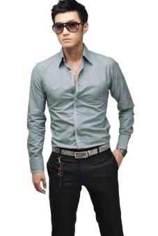 Casual Long Sleeve Shirt (Grey) - Intl