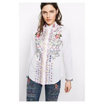 Áo Sơ Mi Nữ Thêu Hoa Desigual Shirt Atenas 71C2WD01000XS