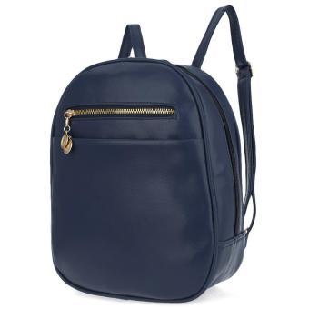 Ladder Lock Button Shape Zipper Head Solid Color Portable Bag Backpack for Women - intl