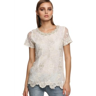 Cyber 2016 Finejo Women Casual Short Sleeve Round Neck Chiffon Lace Blouse (White) - Intl