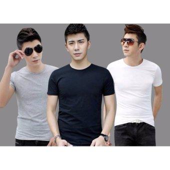 Bộ 3 áo thun nam body cổ tròn ( đén, trắng, xám )
