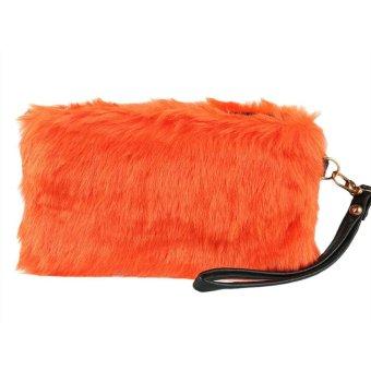 Linemart Fashion Women's Elegant Clutch Bag Faux Fur Handbag Wallet Candy Color Clutch ( Orange ) - intl