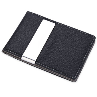 JINBAOLAI Unisex Short Hard Money Clip Open Horizontal PU Leather (Gray) - Intl - intl