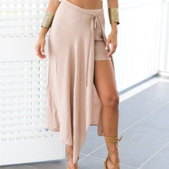 Zaful Woman Chiffon Skirt Polyester Split Design (Nude Pink) - Intl