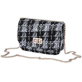 Vintage Striped Woolen Cloth Mini One Shoulder Handbag Elegant Messenger Bag(Black) - Intl