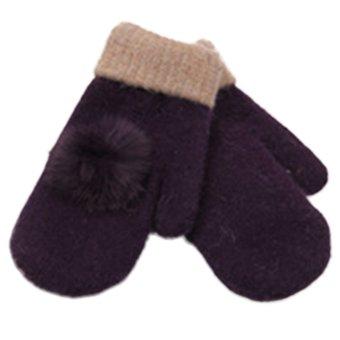 Women's Warm Winter Gloves Mittens Purple (Intl)