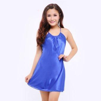 Đầm ngủ satin cổ yếm sang trọng Wannabe DN515 (Xanh bích)