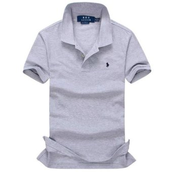ALL size Casual polo shirt Men Solid polo shirt brands saints men British polo shirts sheep head cotton Short sleeve men (Grey) - intl