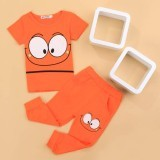 Cyber Baby Children Cartoon Short Sleeve Print T-shirt Tops and Pants Two Piece Set (Orange) - Intl