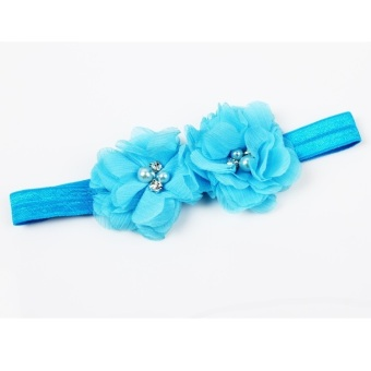 Fancyqube Polyester Fiber Soft Elastic Flower Shaped Baby Girls Hairband Charming Hair Accessories Blue