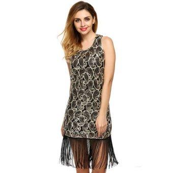 Cyber ANGVNS Women O-Neck Sleeveless Sequins Tassel Mini Sexy Dress(Gold) - Intl