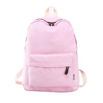 Women Canvas School Bag Girl Backpack Travel Rucksack Shoulder Bag Pink (Intl)