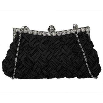 Linemart New Fashion Women's Evening Bag Shining Rhinestone Handbag Shoulder Bag Clutch Bag with Chain ( Black ) - intl