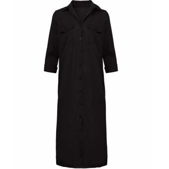 ZANZEA Casual Loose Cardigan Coat Split Ladies Long Sleeve Dress (Intl)