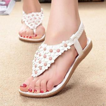 Women's Fashion Summer Bohemia Sweet Beaded Sandals Clip Toe Sandals Beach Shoes White - intl