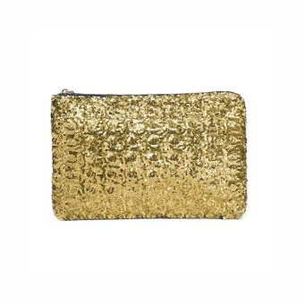 Fashion Women Clutch Bag Dazzling Sequins Glitter Sparkling Handbag Evening Party Bag Golden - intl