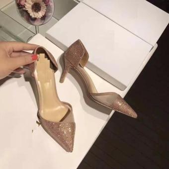 giày cao gót hở eo đính đá ( kem )
