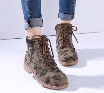 New Work Boots Women's Winter Leather Boot Lace up Outdoor Waterproof Snow Boot - intl