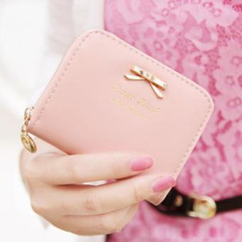 Fashion Lady Leather Zip Around Wallet Pink