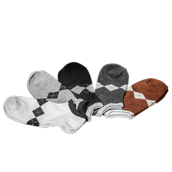 5 Pairs Men's Small Rhombus Pattern Cotton Ankle Sock Anklets Socks Random Color (Intl)
