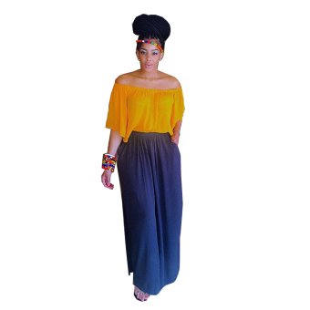 Gamiss Sexy Slash Casual Top Chiffon Skirt Woman Two Pieces Set - intl