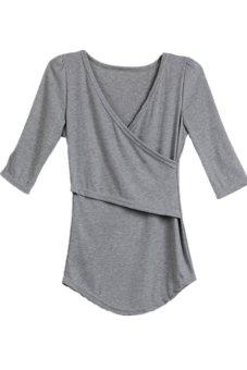 Lalang V-Neck Slim Top Grey - Intl