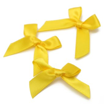 50pcs Silk Satin Ribbon Bows Ribbons Appliques Scrapbooking Craft DIY Gift 4x3cm Golden - Intl