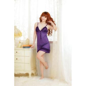 Đầm ngủ Nữ tính họa tiết Chấm bi Chodeal24h (tím đậm)